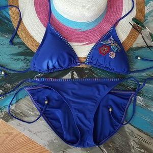 Other - Blue Floral Ebroidered Bikini Set, Boho, Medium